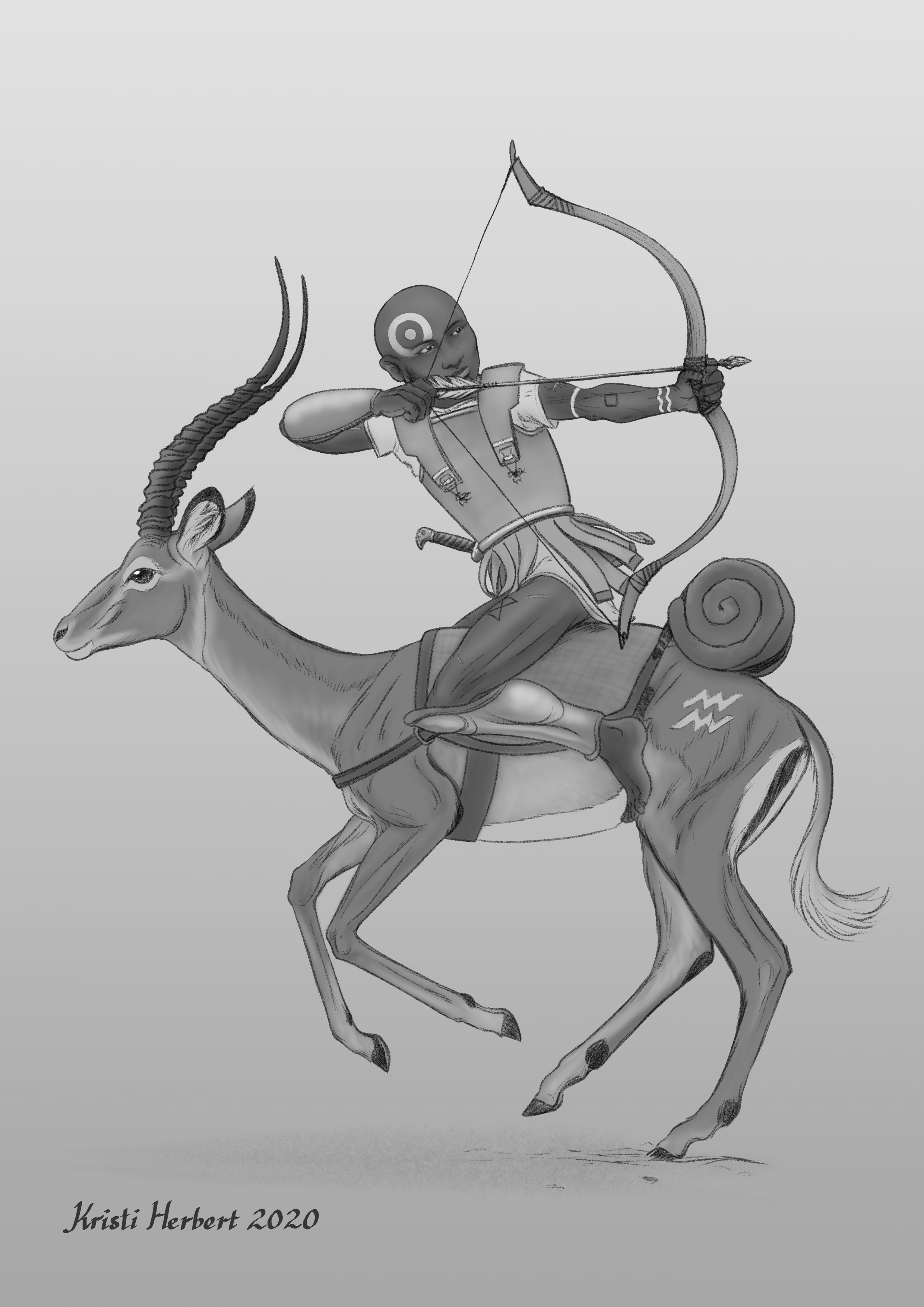 An archer rides on an impala. He is taking aim on an unseen target behind him.