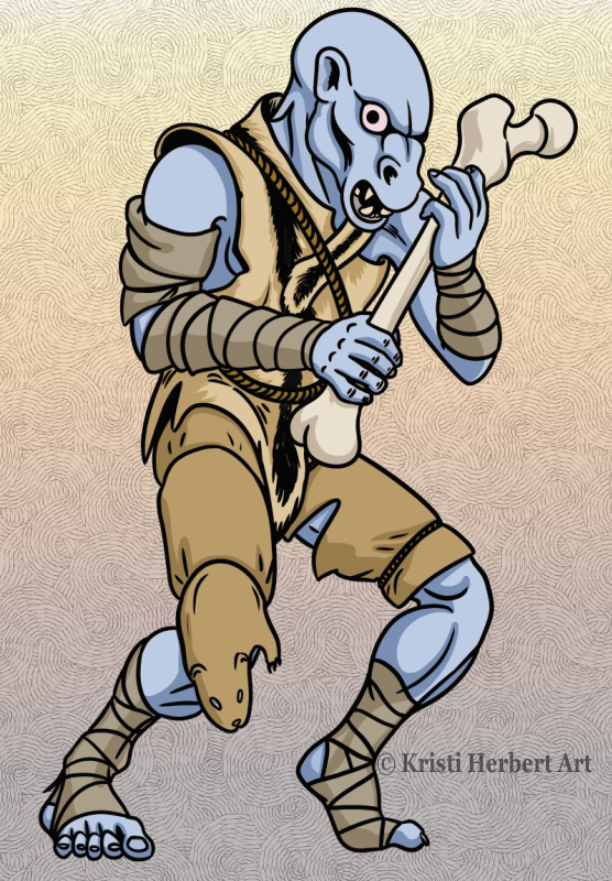 A scrawny-looking blue-grey trollkin clutches a femur in his hands. He is dressed in animal skins and it looks as though his trousers are made from a single otter skin, head still attached.