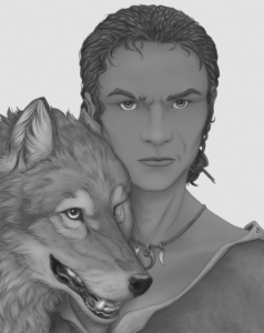 A frowning woman with a happy wolf.