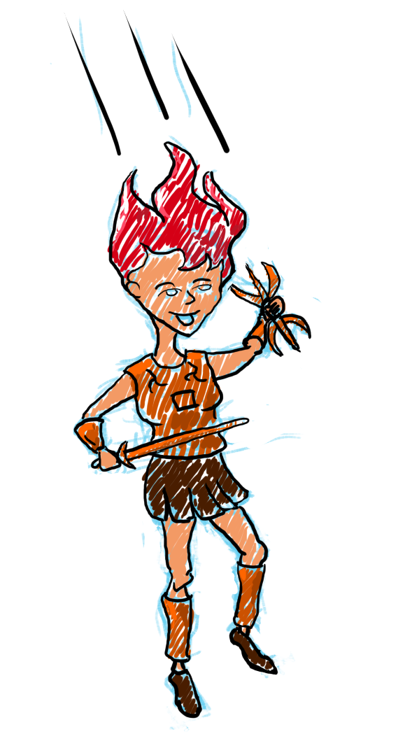 A red-headed woman holding a sword and a lightning bolt lands from a great height.
