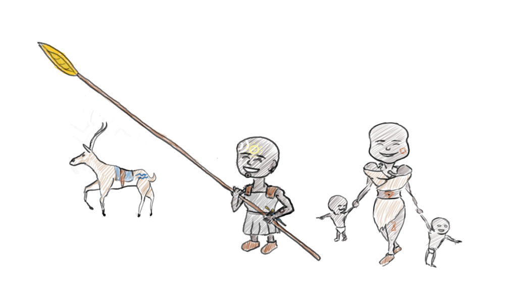 A very short warrior with a very long spear, and his family; a wife and two sets of twins.  He has an impala.