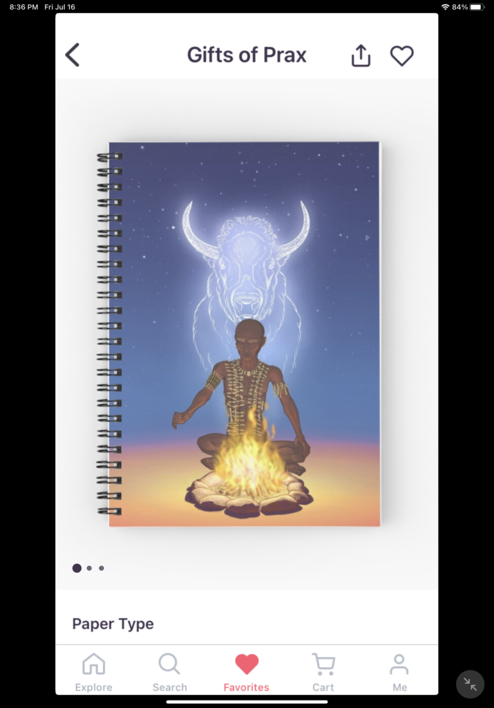 Spiral bound notebook with a ghostly bison and an old man seated in front of a fire.