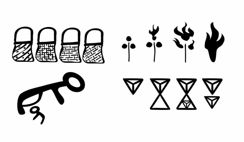 Simple drawings of bags, a wildfile, an animal feeding its hyoung, and the Beast Rune in various permutations.
