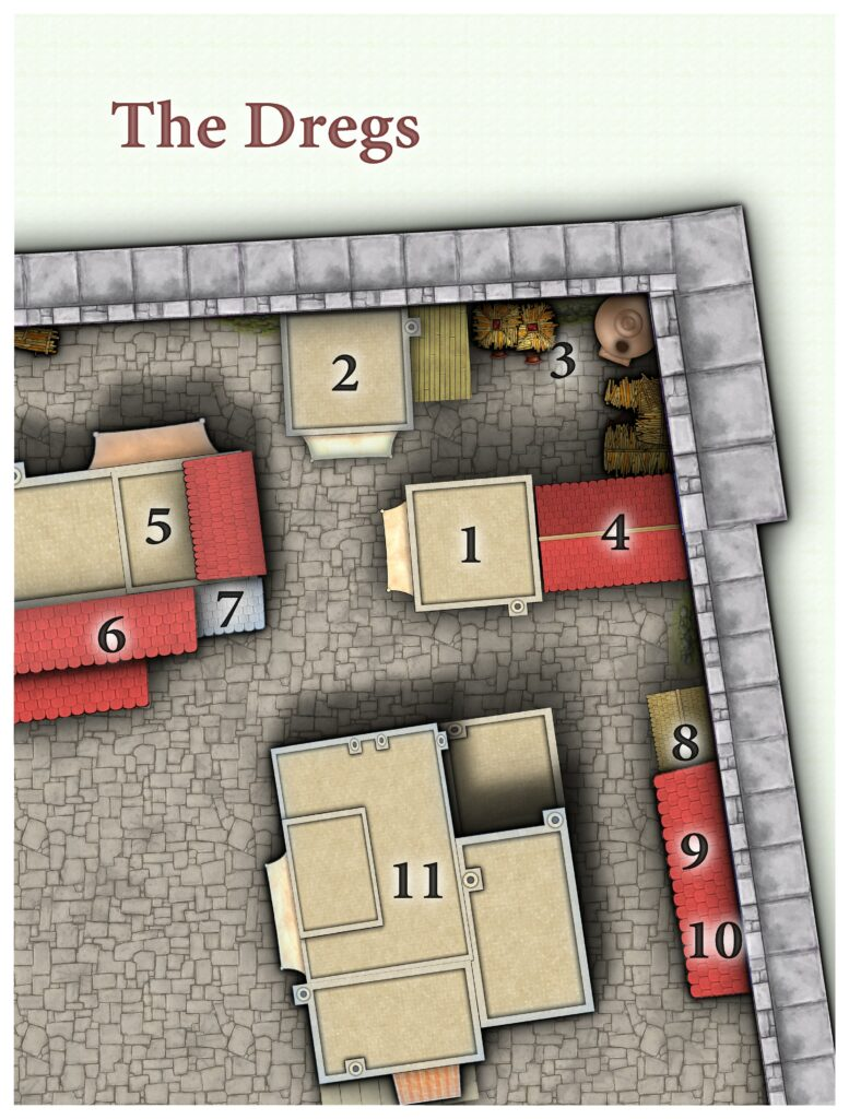 A top-down map of an area with flat, pale roofs and some tiled roofing. There is a tiny shanty in one corner.