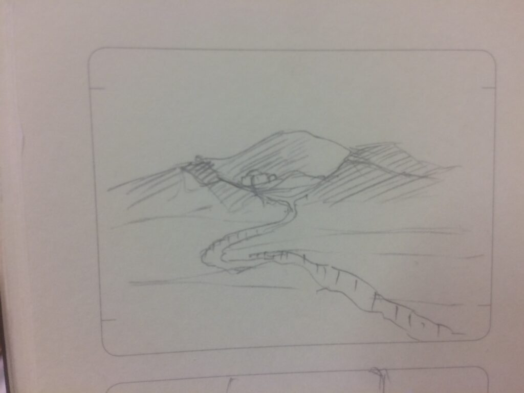 A pencil view of a ravine disappearing into hills