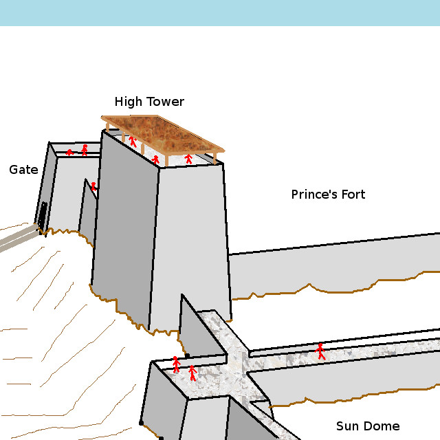 A computer-produced line drawing of a 3D projection of a section of a fort with high towers. Art by Michael Blum.