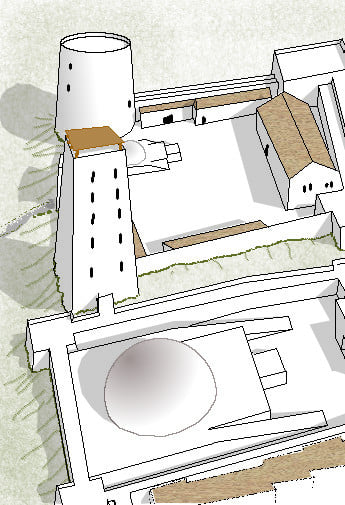 A computer-produced line drawing of a 3D projection of a section of a city including a fort with high towers and a large domed temple.  Art by Michael Blum.