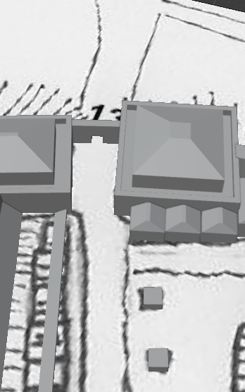 A 3D image of two towers joined by a gate.  The map from which they are projected is visible on the ground plane.