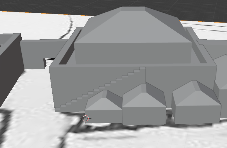 A 3D image of a tower with a stair on the outside, and houses along the side with the stair.  The map from which they are projected is visible on the ground plane.