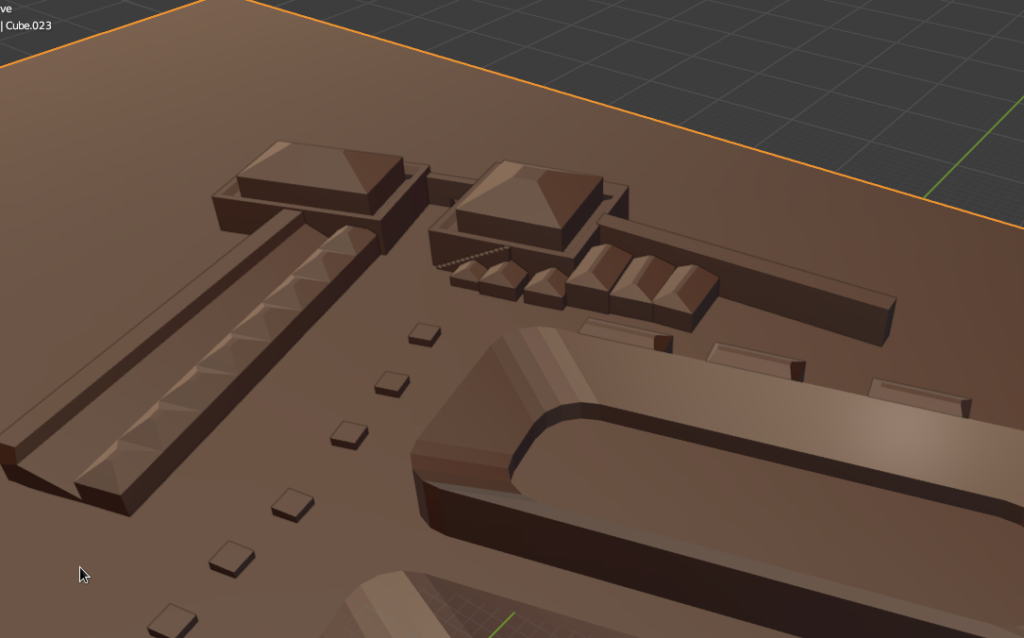 A 3D image of a city, in brown, which is a different colour to the other 3D projections on the page.  It shows all the previous details, including towers, the gate area, the walls, and a stadium.  The ground plane is the same colour as the walls.